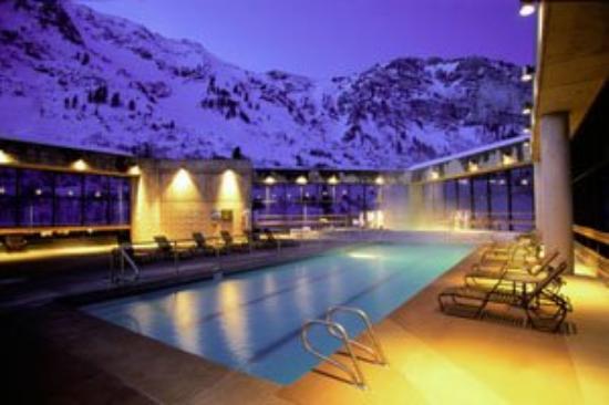 Cliff Club At Snowbird Pool Night Mountain Condo Rentals
